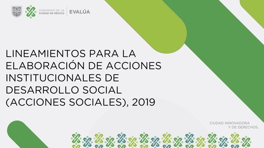 LINEAMIENTOS PARA LA ELABORACIÓN DE ACCIONES INSTITUCIONALES DE DESARROLLO SOCIAL (ACCIONES SOCIALES) 2019